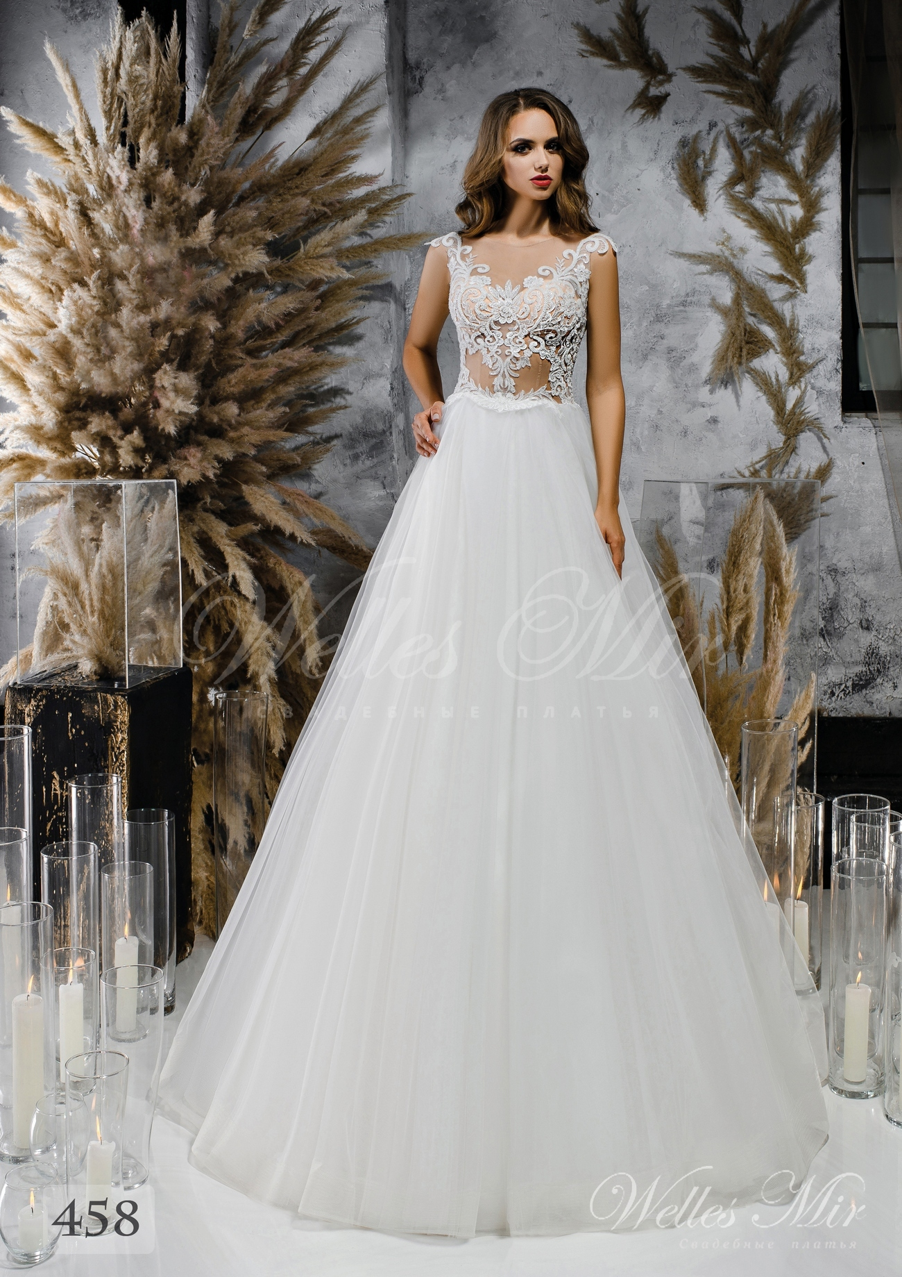 Wedding dress A-line with a light corset