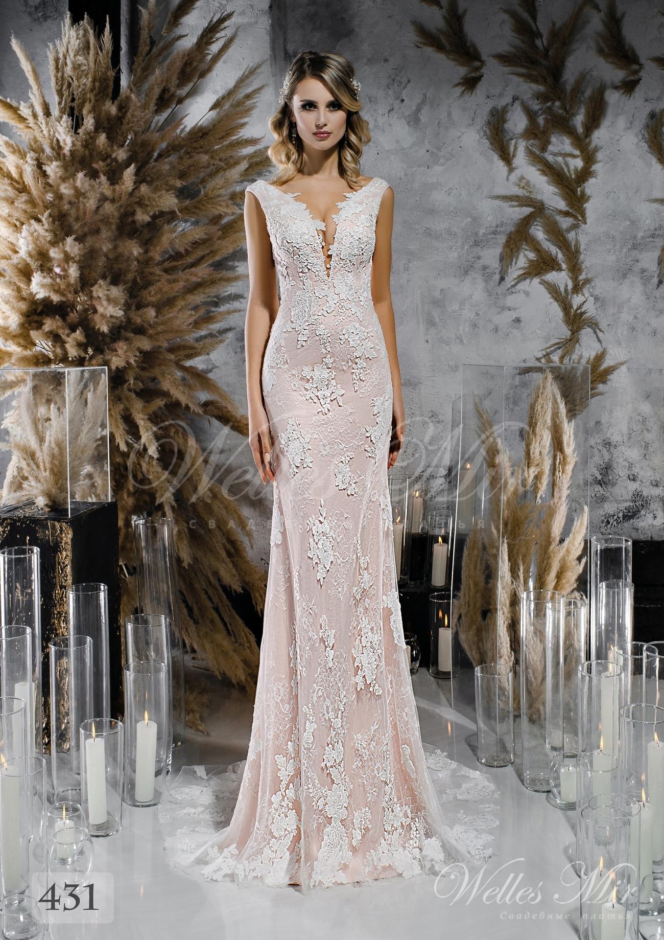 Кружевное прямое свадебное платье нежно розового оттенка оптом
