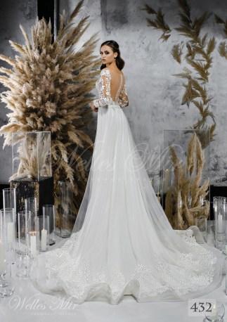 Белое свадебное платье с волнистой юбкой оптом-2