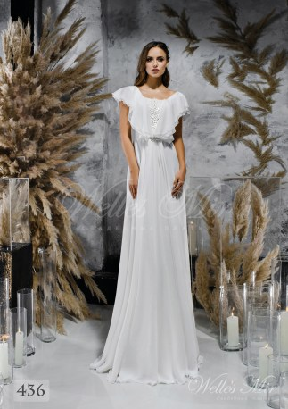 Прямое белое свадебное платье с рукавами-крылышками оптом-1