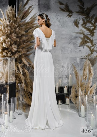 Straight white wedding dress with wing-shaped sleevess on wholesale-2
