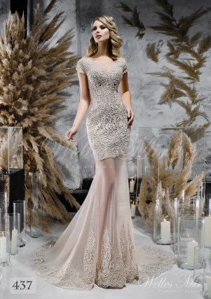 Coffee colored wedding dress with lace train on wholesale 437