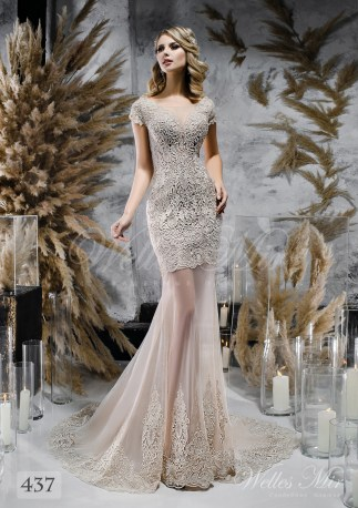 Coffee colored wedding dress with lace train on wholesale-1