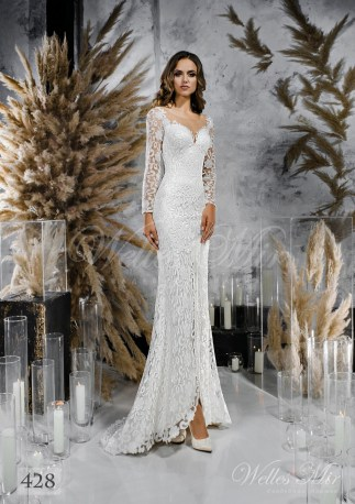 Кружевное свадебное платье прямого кроя оптом-1