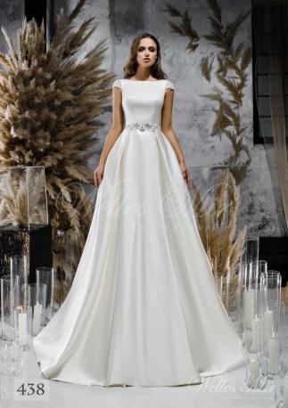 Белое атласное свадебное платье с закрытым декольте оптом-1