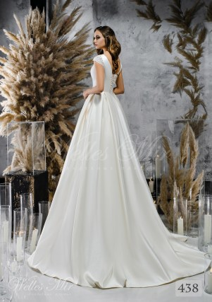 White satin wedding dress with closed neckline on wholesale-2