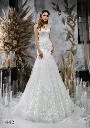 An white one-shouldered wedding dress on wholesale 442
