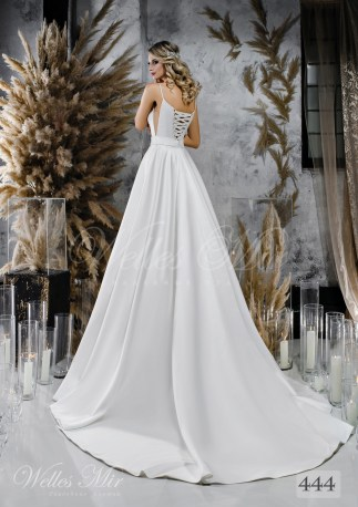 Пышное белое свадебное платье с поясом оптом-2