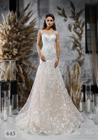Сдержанное свадебное платье-годе с длинными гипюровыми рукавами оптом-1