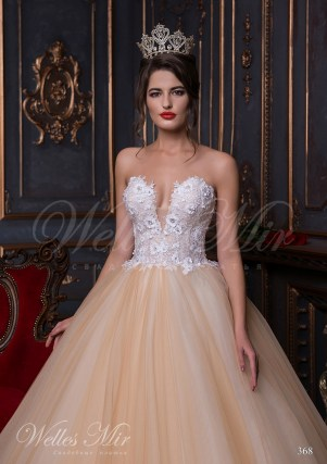 Beige wedding dress with a V-shape neck-2