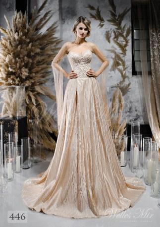 Удивительное бежевое свадебное платье с кейпом оптом-1