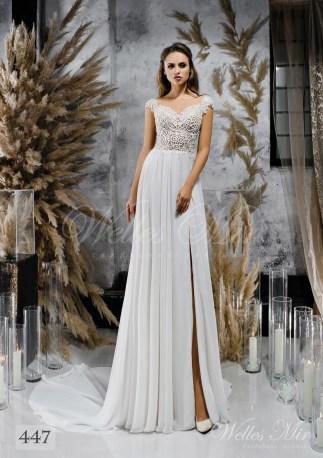 Прямое свадебное платье с кружевным корсетом оптом-1