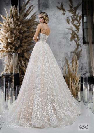 Кремовое свадебное платье с расшитым корсетом оптом-2