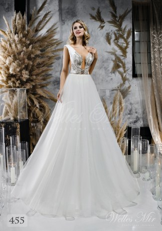 Wedding dress with a lush skirt and split corset wholesale from WellesMir-1