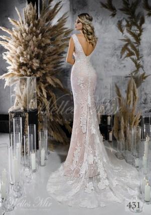 Кружевное прямое свадебное платье нежно розового оттенка оптом-2