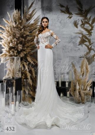 Белое свадебное платье с волнистой юбкой оптом-1