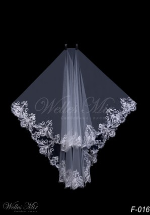 Fingertip length bridal veil F-016
