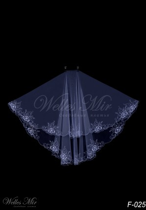 Transparent bridal veil F-025