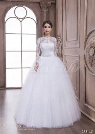 Свадебное платье с длинными прозрачными рукавами-1
