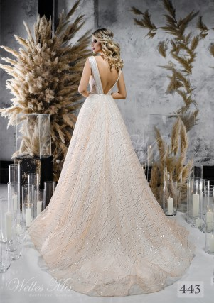 Beige wedding dress with uncovered back on wholesale-2