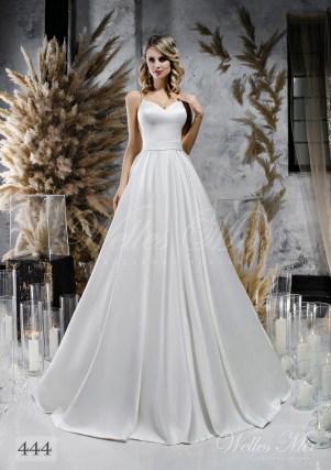 Voluminous white wedding dress with belt on wholesale-1