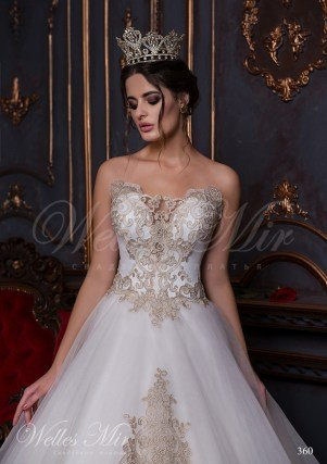 Open wedding dress with a gold embroidery and applications-2