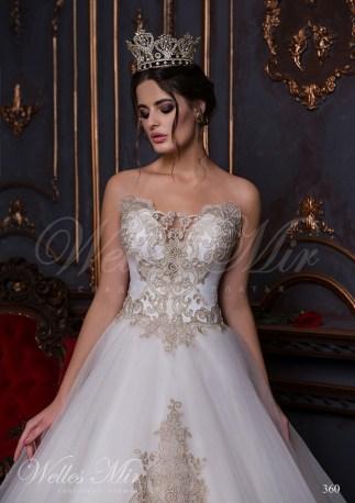 Открытое свадебное платье с золотой вышивкой и аппликациями-2