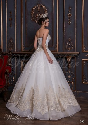 Open wedding dress with a gold embroidery and applications-3