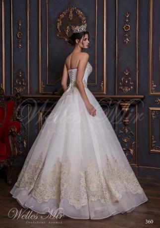 Открытое свадебное платье с золотой вышивкой и аппликациями-3