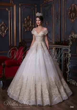 Шифоновое свадебное платье с золотой вышивкой-1