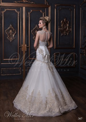 Wedding dress made of chiffon with embroidery-3
