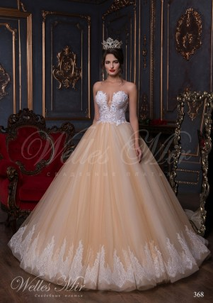 Beige wedding dress with a V-shape neck-1