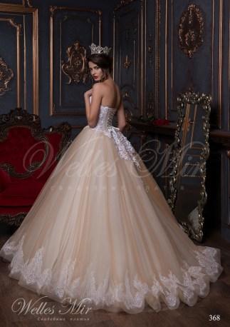Beige wedding dress with a V-shape neck-3