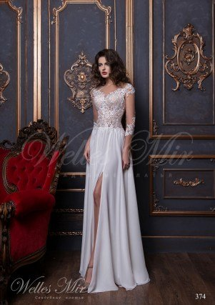 Straight wedding dress with appliques 374