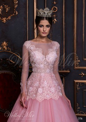 Ярко-розовое свадебное платье-2