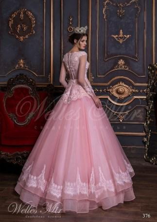 Ярко-розовое свадебное платье-3