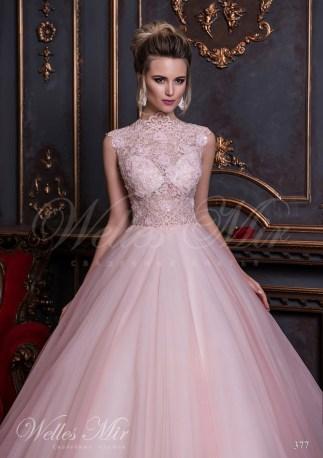 Свадебное платье с закрытой шеей и прозрачным корсетом-2