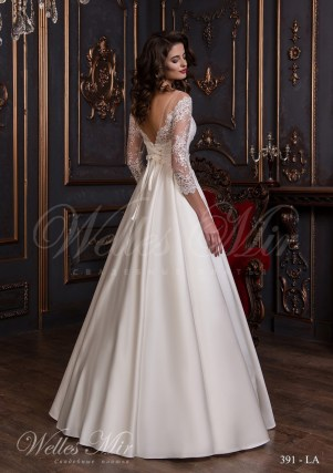 A silhouette wedding dress with neckline-3
