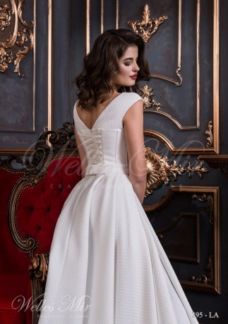 Белое свадебное платье с текстурной ткани-3