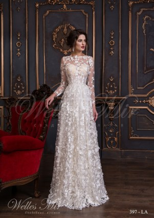 Transparent wedding dress of floral design with transparent sleeves and flowers 397-LA