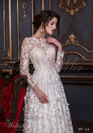 Transparent wedding dress of floral design with transparent sleeves and flowers-2