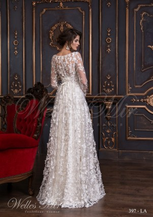 Transparent wedding dress of floral design with transparent sleeves and flowers-3