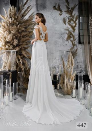 Прямое свадебное платье с кружевным корсетом оптом-2