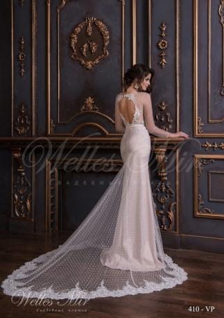 Длинное свадебное платье в пол в горошек-3