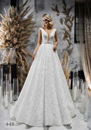 Свадебное платье с расколотым корсетом и пышной юбкой оптом-1