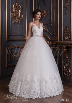Свадебное платье с прозрачными бретелями-1