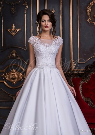 Wedding dress with a pleated belt-2