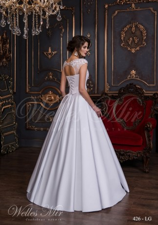 Wedding dress with a pleated belt-3