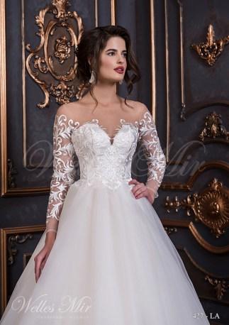 Свадебное платье с прозрачными рукавами с аппликациями-2