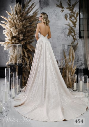 Satin wedding dress A-line with strap over neck wholesale from WellesMir-2